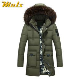 Wholesale Long Winter Parka For Men - Wholesale- Muls Winter thick long jacket men 50% white down jacket Fur hood male parka High quality keep warm windproof coat for man MD592