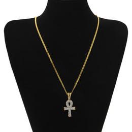 Haute Qualité Couleur Or Hip Hop Égyptien Ankh Croix Croix Pendentif Collier avec 24inch Long Cuban Lien Chaîne pour Unisexe Bijoux ? partir de fabricateur