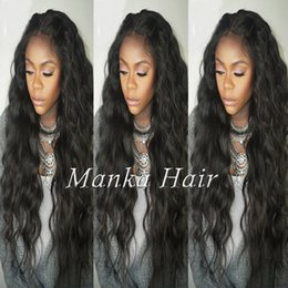Pelo humano largo y ondulado barato online-Barato 180% densidad larga ondulada peluca llena del cordón mongol frente del cordón peluca ondulada pelucas de cabello humano para mujeres negras