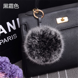 Wholesale Fox Fur Purse - Hot Burgundy Large Real Fox Fur Pom Pom key Rings Ball Car Keychain for men Handbag Purse Charm Pendant Accessory 10pcs lot 10cm
