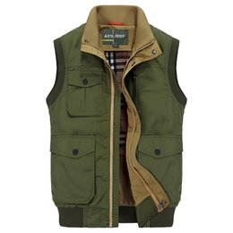 Wholesale Collared Military Vest - Fall-2016 Outdoor Brand Vest Military Waistcoat Jacket Casual Multi-Pocket Fall Men camping Photography reporters Cargo Vest