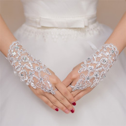 Wholesale Bright Shorts - 2016 White Fingerless Lace Beads Short Bridal Wedding Gloves Wedding Accessories Net Yarn Brief Paragraph Bright Drill Wedding Decorations