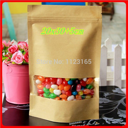 Wholesale Plastic Packaging Bag Resealable - 100 X Brown Craft Stand up Zip Lock window Pouch, Resealable Kraft Paper bag 20X30+5cm Grip Self Seal nuts&candy bags Packaging