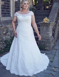 Wholesale Empire Waistline Dress - 2017 New Plus Size Wedding Dress Cap Sleeve Scoop Neck Full Lace Empire Waistline A Line Bridal Gowns Lace up Back Custom Size