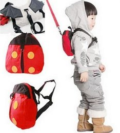 Wholesale Cartoon Kids Bag Strap - 2016 New Arrive Harness Removable Tether Strap Baby Kids Keeper Toddler Safety Rein Ladybird Backpack Bag Small Cute Red Convenient
