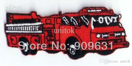 Wholesale Red Hat Appliques - Embroidery Red Fire Truck fire engine Sew or Iron on Patches Appliques Hat Jeans Gifts Free shipping