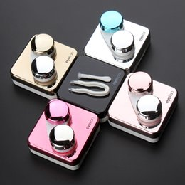 Wholesale Contact Lenses Case Mirror - High quality reflective Cover contact lens case with mirror color contact lenses case Container cute Lovely Travel kit box Women
