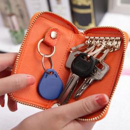 Wholesale Car Leather Key Holder Case - hot sale high qualtiy multi-function zipper genuine leather car key holder fashion split men key bag case wallet