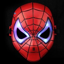 Wholesale Mask Spider Man Red - 2017 New Cartoon LED Flashing Avengers Hero Mask Adult Kid Cosplay Spider Man Mask Halloween Party Dress Decor Halloween mask