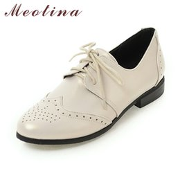 Wholesale Women Size 11 Wedge Shoes - Wholesale- Meotina Women Oxfords Flats Shoes Lace Up Pointed Toe Brand Fashion Causal Brogue Shoes Women Beige Black Large Size 11 12 45 46