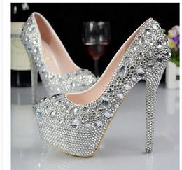 Plata personalizado más el tamaño de la boda zapatos cristales diamantes de imitación nupcial de la boda Bombas zapatos Diamante mujeres Zapatos de fiesta Prom zapatos de tacón alto desde fabricantes