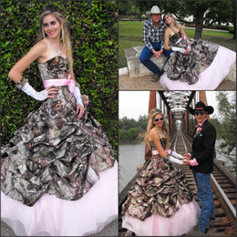 Wholesale Cowboys Hot Sexy - 2016 Hot Fashion Cowboy Country A Line Camo Wedding Dresses Pleats Sexy Sweetheart Lace-up Back Bridal Gown Pink Lining Bow Sash DG