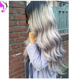 Wholesale Long Gray Wigs For Women - Fashion Ombre Silver Grey Bodywave Synthetic Lace Front Wig Glueless Long Natural Black Gray Heat Resistant Hair Wigs For Women