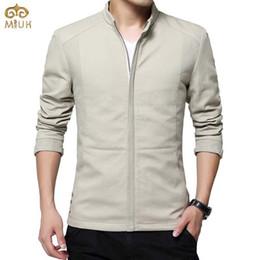 Wholesale Men S Large Jackets - Wholesale- MIUK 2017 100%Cotton Large Size Spring New Jacket Men M~4XL Business Style Windbreaker Black Jackets And Coats Brand Clothing