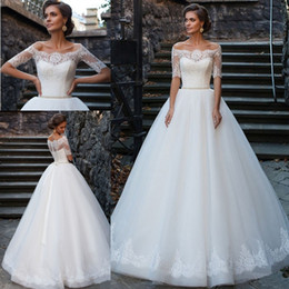 Wholesale Beach Portrait - 2017 Sexy Lace A-Line Wedding Dresses Portrait Illusion Tulle Off-Shoulder Beaded Bridal Gowns Sweep Train Back Buttons Vestido de Novia