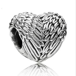 Wholesale Girls Bracelet Charms - European Silver Plated Big Hole Charms Spacer Loose Beads Fit Pandora Bracelets 925 Jewelry Wings of an Angel for Sale Girls Mom Heart Shape