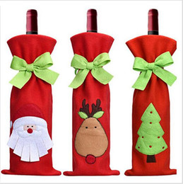 Wholesale Cloth Table Covers For Parties - Christmas Wine Bags Wine Cover for Christmas Ornaments Xmas Santa Claus Wine Bottle Cover Bag Cortoon Christmas Dinner Party Table Decor