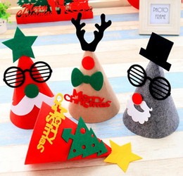 Wholesale Kids Sock Hat - 25Cm Height Christmas Decoration Santa Clause Hats Santa Hats Gifts For Kids Non Woven Fabrics Decals Kids Hat QY-049