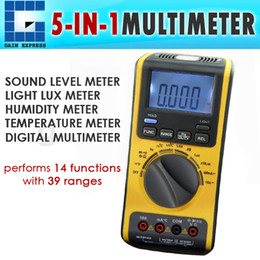 Wholesale Digital Auto Meters - VA-19 5 in 1 Digital Double Insulation Auto  Manual Ranges Multimeter Thermometer Lux Sound Hygrometer Meter