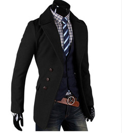 Wholesale Camel Coat Lapel - Fashion Men Windbreaker Jacket Plus Size Turn-down Collar Single Breasted Slim Fit Casual Outerwear Black Camel Men Trench Coat