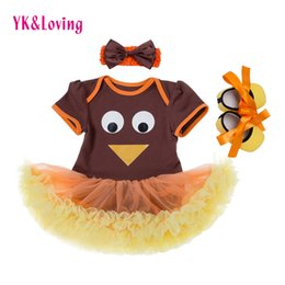 Wholesale Girls Cloth Tutu - Thanksgiving Baby girl Clothing Sets Free shipping Romper Tutu Dress with Headband Shoes 3pcs sets Short Sleeve Cotton Clothing Soft Cloth