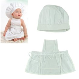 Wholesale Hat Cooks - Delicate Hot Newborn Infant Hat Apron Photos Photography Prop Baby White Cook Costume Shipping