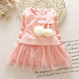 Wholesale Newborn Baby Girl White Dress - Wholesale- 2016 Newborn Baby Girls Dress Knit Tops Lace Bowknot Dresses Kids Autumn Spring Clothing 0-24M