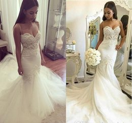 Wholesale Sweetheart Mermaid Chapel Wedding - 2016 New Sexy Plus Size Mermaid Wedding Dresses Spaghetti Straps Lace Appliques Pearls Tulle Backless Long Court Train Formal Bridal Gowns