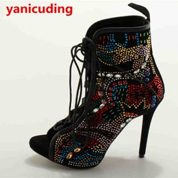 Wholesale Sexy Colorful Wedges - Hot sale Peep Toe Sexy High Thin Heel Women Boot Lace Up Shoes Colorful Crystal Embellished Bling Runway Star Luxury Brand