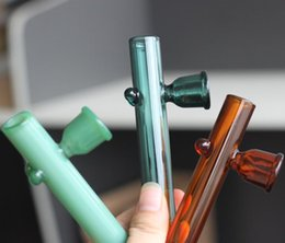 Wholesale Choose Real - Real Image Colorful Glass Pipes 100mm Length Water Pipes Oil Burner Pipes 3colors for choose Round Edge for Smoking easy use fast shipping