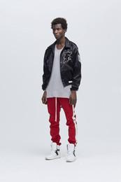 Wholesale Retro Hip Hop Clothing - Wholesale- Vellsar Retro korean hip hop jogger urban clothing red bottoms Punk Rap jogger Classic punk side zipper cotton pants