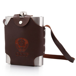 Wholesale Flask Oz Whisky - Leather Bag 32 oz Hip Flask Stainless Steel Hip Flasks With Funnel Portable Flagon Skin Pouch Outdoor 32 Ounce Whisky Stoup 2016 New Hot