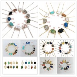 Wholesale Wholesale Druzy Silver - Fashion 10 Styles Drusy Druzy Necklaces Earrings Jewelry For women 10 colors Gold Silver Plated Resin Geometry Stone \ Necklace Earrings