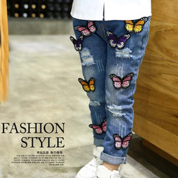 Wholesale wholesale color jeans - Girls Jeans Kids Pants Ripped Jeans Korean Girl Dress Denim Trouser 2016 Spring Tapered Jeans Children Clothes Kids Clothing Lovekiss C23328