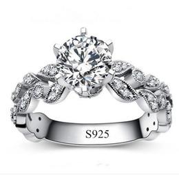 Mode Silber Ringe für Frauen Weißes Gold überzogene Schmuck CZ Diamant gestempelt 925 weibliche Ring Anillos Hochzeit Ringe Bague L108 von Fabrikanten
