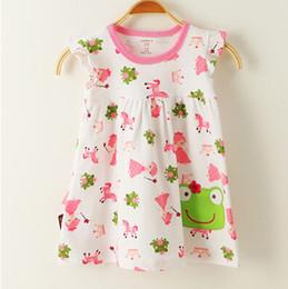 Wholesale Princess Frog Dress - Wholesale- Baby girl fashion dress print kids summer dresses girls Brand princess baby dress Cartoon frog character short sleeve dress