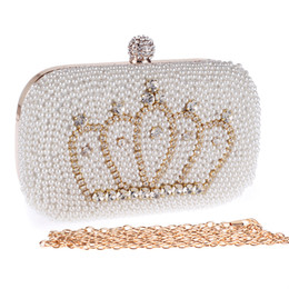 Wholesale European Hoops - 17cm Handmade Evening Clutch Purse crown Fashion Lady Designer Diamond Crystal rhinestone pearl beaded Evening Bag