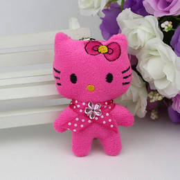 Wholesale Mini Teddy Bears For Sale - phone lcds Hot sale H-8cm mix 4color lovely Mini doll cat ,toys for cartoon bouquet, plush toy cell phone 40pcs lot