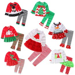 Wholesale Skirt Legging Girl Suit - Christmas Birthday Outfits For Baby Girl 2PC Set Clothes New Arrival Children Skirt Ruffle T Shirt Top+Legging Pant Suit Boutique Clothing