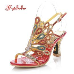 Wholesale Evening Women High Heel Wedges - Fashion Brand 2016 Summer New High-Heeled Sandals Women's Set Auger Luxury Banquet Evening Dresses Wedding Shoes Plus Size 34-44