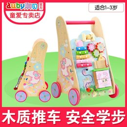 Wholesale Baby Walker Cart - AUBAY pleasant goat and grey wolf Walker baby walker Trolltech wooden cart multifunctional toy for children