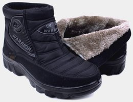 Wholesale Platform Ankle Heels - Warrior snow boots winter boots men short plus velvet flat heel slip-resistant quinquagenarian platform thermal cotton-padded