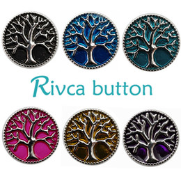 Wholesale Metal Jewelry Tree - Wholesale-D00158 Wholesale 6pcslot Oil Painting Tree Of Life Metal Snap Button Bracelet For Women Rivca 18mm Charm Snap Button Jewelry