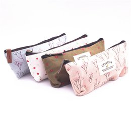 Wholesale Korea Office Bags - Wholesale-HOT Cute Floral Flower Canvas Zipper Pencil Cases Korea Pen Bags School Supplies, Can Be Used As An Zero Wallet & Cosmetic Bag