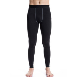 Wholesale Long John Thermals Wholesale - Wholesale- 2017 New Men Long Thermal Sports Running Base Layer Tights Pants Johns Plush Underwear Fitness Gym Bottoming Trousers ZM14