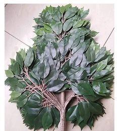 2019 fiori d'anniversario d'oro di nozze Pianta di plastica verde artificiale foglie di banyan rami di ficus erba decorazione domestica ramo viola (12pcs)