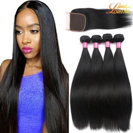 Wholesale Unprocessed Virgin Hair Closures - Brazilian Straight Hair With Closure Unprocessed Brazilain Straight Hair Bundles With Lace Closure Cheap Mink Brazilian Virgin Straight Hair