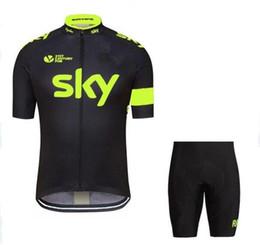2016 NUEVOS jerseys de ciclismo del Tour de Francia Sky Team Ropa de ciclismo de secado rápido Ropa de ciclismo Manga corta pantalones de ciclismo + pantalones babero traje de ciclismo desde fabricantes