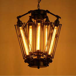 Wholesale Edison Style Lighting - Vintage Pendant Light Industrial Edison Lamp American Metal Style Coffee Bar Restaurant Kitchen 8 Lights Art Deco Lamps
