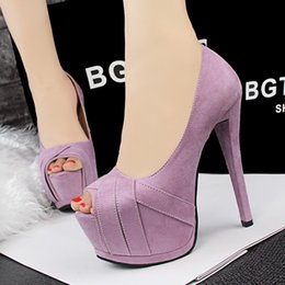"""Wholesale European American Heels Shoes - """"European and American style retro fashion women sexy stilettos ultra-high thin heel dress shoes peep toe suede platform pumps for party 118"""